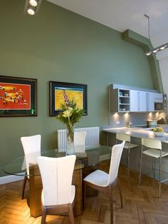 Kitchen Stunning Design In Green Frame Decor Hardwood Flooring Painting Wall Elips Glass Dining Table.jpg Awesome