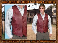 Scully Lambskin Black Cherry Western Vest From Tribal And Western Impressions - Old West Cowboy And Indian Store - www.indianvillagemall.com