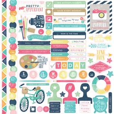 Embellish layouts and cards with Elements Cardstock Stickers from the Creative Agenda Collection by Echo Park. The sticker sheet measures 12 x 12 and is made in the USA.