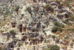 Lycian Rock Tombs in Turkey.  Dalian near Fethiye. | Atlas Obscura