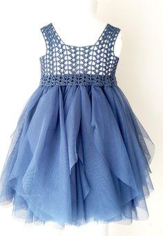 Indigo Blue imperio cintura bebé tul vestido con por AylinkaShop
