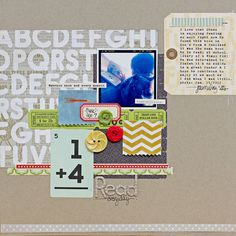 By Megan Klauer. The almost neutral PP on the kraft, then the bright colorful block on top. Need to remember.