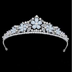 1.2 Inch Height Elegant Shinny White Clear Marquise Cubic Zircon Diamond Wedding crown Tiaras