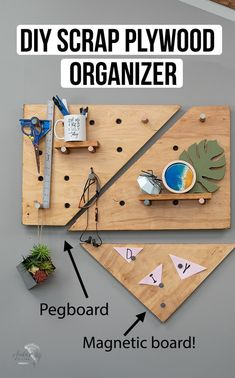 So cool! Love this DIY Plywood pegboard and wall organizer with a magnetic plywood! Learn how to make one with the step by step tutorial and video! #anikasdiylife #plywoodpegboard Scrap Wood Projects, Woodworking Projects That Sell, Diy House Projects, Woodworking Crafts, Projects To Try, Colorful Furniture, Diy Furniture, Diy Coasters, Wood Plans