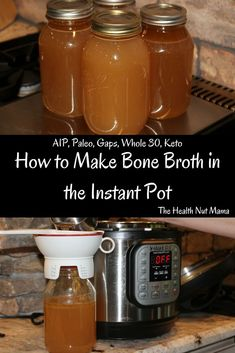 Step by Step instructions on How to make Bone Broth in the Instant Pot. This is by far the easiest fastest way to make it. All that healthy nutritious bone broth in 2 hours instead of hours! Chicken Bone Broth Recipe, Beef Bone Broth, Bone Marrow Broth, Chicken Broth Recipes, Soup Recipes, Recipies, Instant Pot Pressure Cooker, Pressure Cooker Recipes, Pressure Cooking