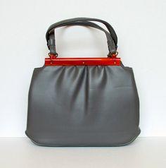 50's Handbag Vintage Grey Faux Leather Purse Toffee Brown Lucite Trim