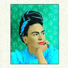 Frida Kahlo Art Small to Poster Instant Digital Download Print Painting Mixed Media Collage Aqua Blue Green Wallpaper White Flowers