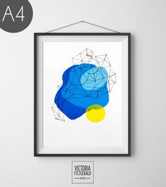 Light Blue and Yellow Abstract Geometric Art Print by Victoria Fitzgerald