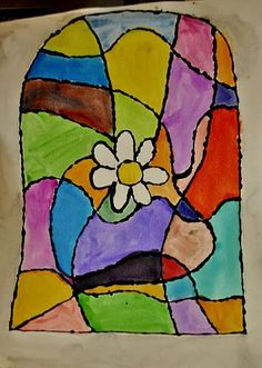 stained glass art project with glue and watercolors.