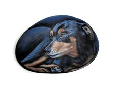Hand Painted Stone Dog Portrait by Lefteris Kanetis on Etsy