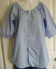 Peasant Blouse upcycled from a men's shirt (links to etsy, but the picture tells it all)