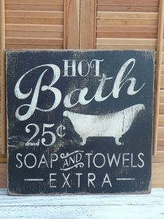 Handmade primitive wooden HOT BATH sign farmhouse country home/wall decor  #PrimitiveCountry #MadeinUSA