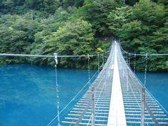 濃い緑と湖面のブルーとのコントラストも印象的。吊り橋を渡った先にある展望台からの眺めも見事です。夏の生命力あふれる美しさはもちろん、秋の紅葉シーズンもおすすめ。夏とは全く違った光景に出会えます。 Shizuoka, Places To Travel, Bridge, Landscape, Nature, Hammock, Scenery, Naturaleza, Destinations