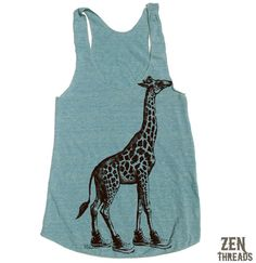 97e064a3c9326 Women s GIRAFFE (in High Tops) -hand screen printed Tri-Blend Racerback  Tank Top xs s m l xl xxl (+Colors) workout