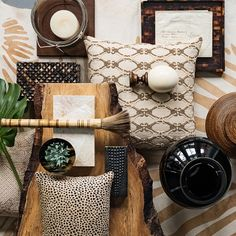 I love everything about this look - patterns, textures, wood, organic. From Williams Sonoma