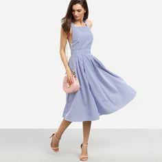 Midi Dresses Summer Blue Striped Square Neck Sleeveless Crisscross Back A Line Dress