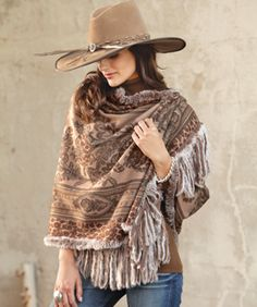 Fur-Trimmed Cashmere Shawl - LOVE this....makes me want to get on a horse with ShaSha @Shelly Figueroa Cox