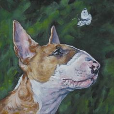 Bull Terrier art print CANVAS print of LA Shepard by TheDogLover, $19.99