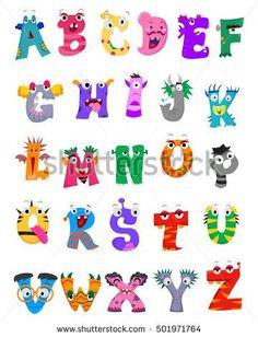 Vector Illustration of Set of Alphabet Monster Cute Fonts Alphabet, Hand Lettering Alphabet, Alphabet Design, Alphabet Art, Diy Resin Crafts, Rock Crafts, Creative Lettering, Lettering Design, Doodle Monster