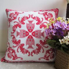 Chinoiserie fish throw pillows for couch Chinese style red sofa cushions