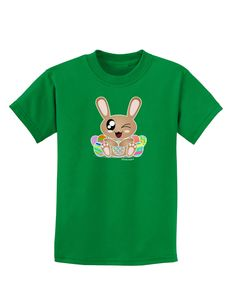 TooLoud Cute Bunny with Eggs Childrens Dark T-Shirt