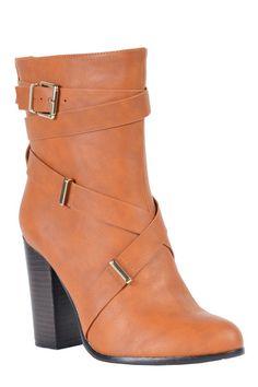 Lauren-01 Strap buckle boot in Brown