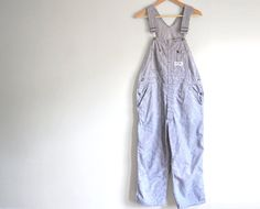 Vintage Conductor Overalls  Striped Bib Overalls by ThriftyMartUSA