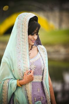 So refreshing to see a bride in pastels! Love this lavender and light green number. #indian #bridal