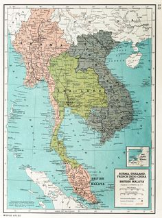 Burma, Thailand, French Indo-China and British Malaysia 1939 Old Maps, Antique Maps, Vintage Maps, Vietnam Map, Asia Map, Historical Maps, Pale Face, Lifebuoy, Cartography