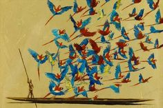 Pedro Ruiz, Colombian painter, was born in Bogotá. At the National School of Beaux Arts in Paris, starts exploring painting and at Stanle. Colombian Art, National School, Graphic Artwork, Illustrations, American Artists, Bird Feathers, Amazing Art, Tatoos, Crafty