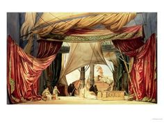"Giclee Print: Stage Model for the Opera ""Tristan and Isolde"" by Richard Wagner (1813-83) (Painted Card) : 24x18in"
