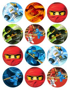 NINJAGO Printable Birthday Party Cupcake Toppers by GELATODESIGN, $5.00