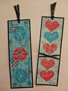 Bookmarks made with tinted home-made texture paste.