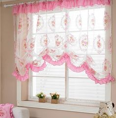 Pink Curtain 핑크색커튼 Shabby Home, Pink Curtains, Vintage House, Shabby, Window Styles, Pink Bedroom, Drapes Curtains, Home Decor, Curtain Styles