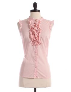 Sleeveless Ruffle Detail Button Up by Caslon by Nordstrom - Size XS - $11.00 on LikeTwice.com
