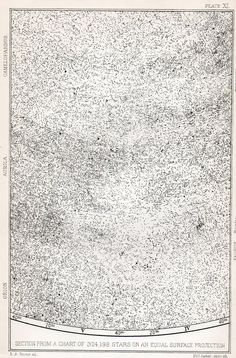 Section of a map displaying 324,198 stars visible via a 2.5 inch aperture telescope made in 1873.