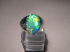 Brilliant  Natural Australian Opal Mens Ring 14 grams of 14k White Gold   #flashopal