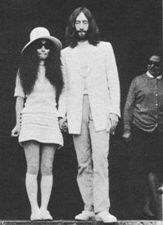 Yoko Ono & John Lennon wedding day in a vintage pair of Linda Farrow