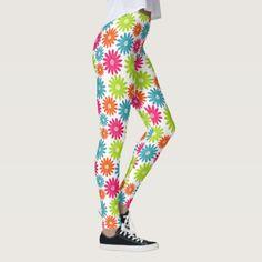 Daisy Days Designer Ladies Leggings - floral style flower flowers stylish diy personalize