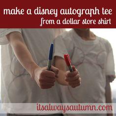 disney week, autograph tshirt, disney vacations, dollar store, diy mickey, disney autograph, disneyland idea