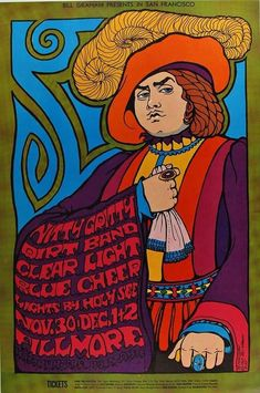 Nitty Gritty Dirt Band, Blue Cheer, Clear Light, at the Fillmore, by Wes Wilson Rock Posters, Band Posters, Music Posters, Hippie Posters, Janis Joplin, Vintage Concert Posters, Vintage Posters, Psychedelic Art, Grateful Dead