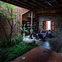 Gallery of Uncle's House / 3 Atelier - 17 Brick Architecture, Interior Architecture, Interior Garden, Interior And Exterior, Atelier Photo, Casa Patio, Decoration Plante, Tropical Houses, Home Decor Bedroom
