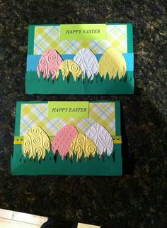 handmade Easter cards ... oval textureed eggs in the grass ... pretty plaid paper in the background ... like them!