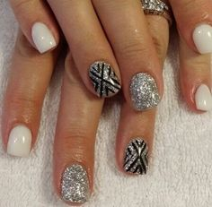 black and white nail art – 60 Examples of Black and White Nail Art art polish stickers art designs nails designs art nails nails nails shop New Year's Nails, Get Nails, Fancy Nails, Love Nails, Trendy Nails, Nails 2016, White Gel Nails, Black And White Nail Art, Silver Glitter Nails