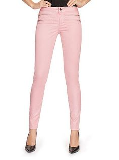 8-Zip Colored Skinny Jeans in District Pink | GUESS.com