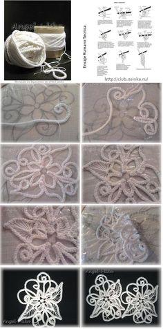 Como hacer Dibujos-Apliques con Cordoncillo Crochet <sub>Encaje Rumano </sub> - enrHedando