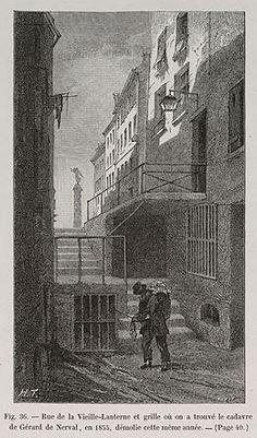 Gravure de la grille où fut trouvé le cadavre de Gérard de Nerval