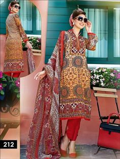 Top - Printed Cambric Pure Cotton, Bottom Semi Pure, Dupatta - Chiffon, Semi-Stitched Daily Wear Pakistani Style Indian Suit Online For Women at Wholesale Price. Indian Suits Online, Latest Salwar Suits, Pakistani Suits, Daily Wear, Chiffon, Sari, Bohemian, Pure Products, Orange