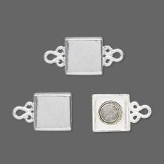 Clasp, JBB Findings, magnetic, sterling silver, 10x10mm square. Sold individually.