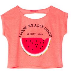 BSK watermelon T-shirt ❤ liked on Polyvore featuring tops, shirts, crop tops, blusas, red shirt, crop top, crop shirts, red crop top and red top